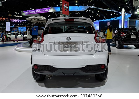 NONTHABURI, THAILAND - MARCH 28: The Nissan Juke is on display the 37th Bangkok International Motor Show 2016  on March 28, 2016 in Nonthaburi, Thailand.