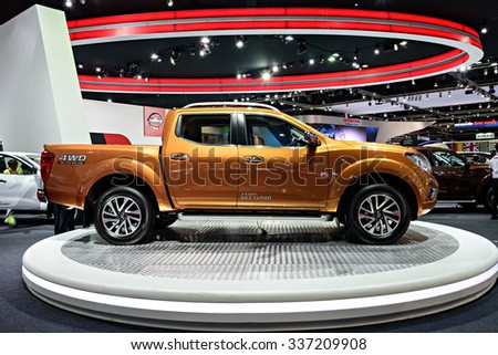 NONTHABURI, THAILAND - MARCH 30: The Nissan NP300 Navara is on display at the 36th Bangkok International Motor Show 2015 on March 30, 2015 in Nonthaburi, Thailand.