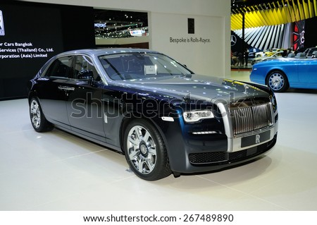 NONTHABURI, THAILAND - March 30: The Rolls Royce Ghost is on display at The 36th Bangkok International Motor Show on March 30, 2015 in Nonthaburi, Thailand. - stock photo