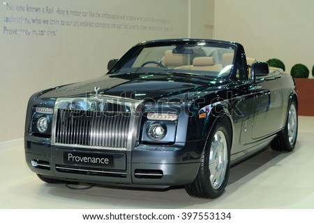 NONTHABURI, THAILAND - March 28: The Rolls-Royce Phantom Drophead Coupe (Provenance) is on display at The 37th Bangkok International Motor Show on March 28, 2016 in Nonthaburi, Thailand.