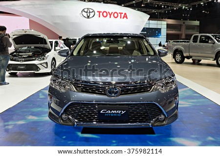 NONTHABURI, THAILAND - MARCH 24: The Toyota Camry Hybrid is on display at the 36th Bangkok International Motor Show 2015 on March 24, 2015 in Nonthaburi, Thailand.