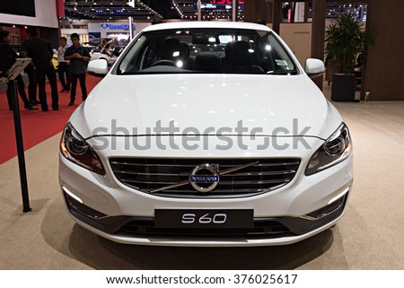 NONTHABURI, THAILAND - MARCH 24: The Volvo S60 is on display at the 36th Bangkok International Motor Show 2015 on March 24, 2015 in Nonthaburi, Thailand.