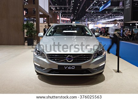 NONTHABURI, THAILAND - MARCH 24: The Volvo V60 is on display at the 36th Bangkok International Motor Show 2015 on March 24, 2015 in Nonthaburi, Thailand.