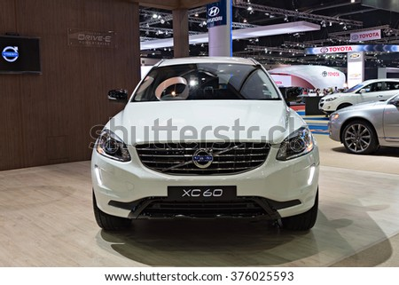 NONTHABURI, THAILAND - MARCH 24: The Volvo XC60 is on display at the 36th Bangkok International Motor Show 2015 on March 24, 2015 in Nonthaburi, Thailand.