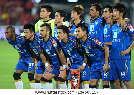 NONTHABURI THAILAND-March26:Unidentified player of ratchaburi fc.Group Photo during the Thai Premier League 2014 between ratchaburi fc and SCG Muangthong Utd.at SCG Stadium on Mar 26,2014 in Thailand
