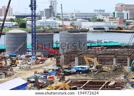 NONTHABURI -THAILAND - MAY 11 : Construction of EGAT's North Bangkok gas combine cycle power plant 800 MW on May 11, 2014 in Nonthaburi, Thailand
