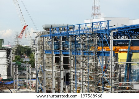 NONTHABURI -THAILAND - MAY 28 : Construction of EGAT's North Bangkok gas combine cycle power plant 800 MW on May 28, 2014 in Nonthaburi, Thailand