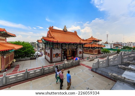 NONTHABURI, THAILAND - MAY 3: Peple visit Wat Borom Racha Kanchana Phisake (Wat Leng Noei Yi 2) on May 3, 2014 in Thailand. It is the most famous and largest Chinese Buddhist temple in Thailand.