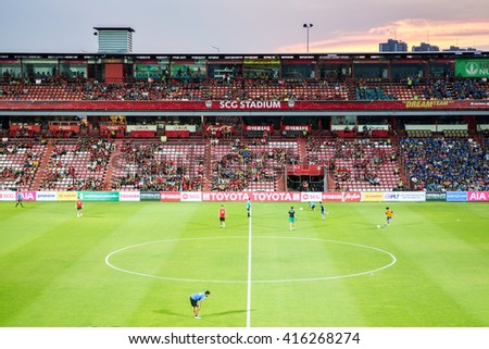 NONTHABURI,THAILAND-MAY1: The landscape of SCG Stadium before the game MTUTD VS Chonburi FC on May 1,2016.