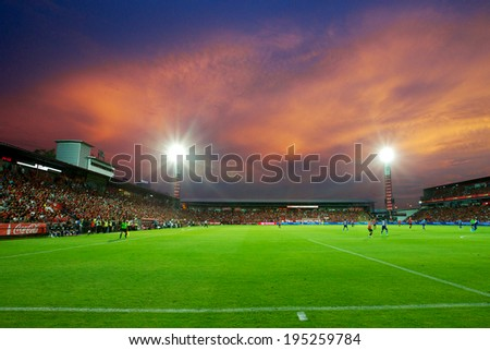 NONTHABURI THAILAND-May 17:View of SCG Stadium during Thai Premier League Muangthong utd. and Chonburi F.C. at SCG Stadium on May 17,2014 in Thailand