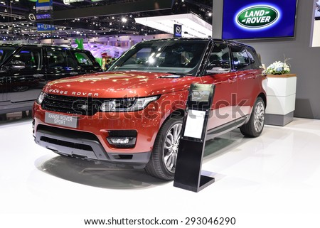 NONTHABURI, THAILAND - NOVEMBER 28: The Land Rover Range Rover Sport is on display at the 31st Thailand International Motor Expo 2014 on November 28, 2014 in Nonthaburi, Thailand. - stock photo