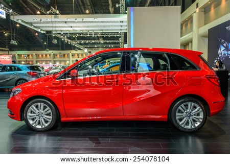 NONTHABURI, THAILAND - NOVEMBER 28: The Mercedes Benz B200 is on display at the 31st Thailand International Motor Expo 2014 on November 28, 2014 in Nonthaburi, Thailand. - stock photo