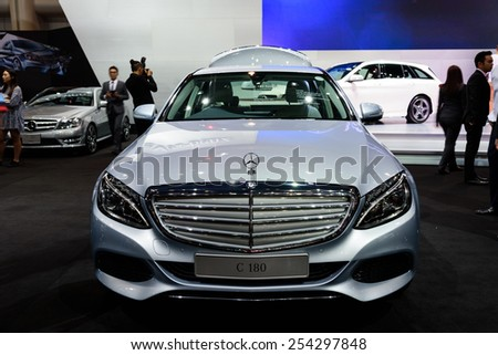 NONTHABURI, THAILAND - NOVEMBER 28: The Mercedes Benz C180 is on display at the 31st Thailand International Motor Expo 2014 on November 28, 2014 in Nonthaburi, Thailand.