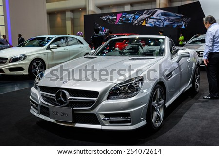 NONTHABURI, THAILAND - NOVEMBER 28: The Mercedes Benz SLK200 is on display at the 31st Thailand International Motor Expo 2014 on November 28, 2014 in Nonthaburi, Thailand.