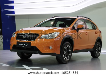 NONTHABURI, THAILAND - NOVEMBER 29:The Subaru XV 2.0i is on display at the 30th Thailand International Motor Expo 2013 on November 29, 2013 in Nonthaburi, Thailand.