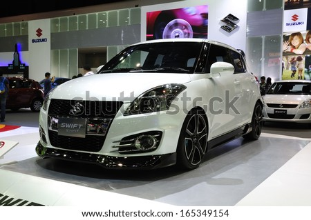 NONTHABURI, THAILAND - NOVEMBER 29:The Suzuki Swift Sport is on display at the 30th Thailand International Motor Expo 2013 on November 29, 2013 in Nonthaburi, Thailand.