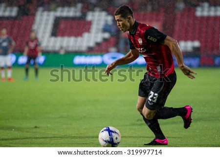 NONTHABURI,THAILAND-SEPTEMBER 23: Cleiton Silva(No.23) Players of SCG Muangthong United in action between the game MTUTD and Chaing Rai UTD in Chang FA Cup 2015 at SCG Stadium on Sep 23, 2015