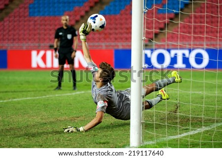 NONTHABURI THAILAND-SEPTEMBER 17:Goalkeeper Duro Dragicevic of Australia in action  during the AFC U-16 Championship between Australia and DPR Korea at  Rajamangala Stadium on Sep17,2014,Thailand - stock photo