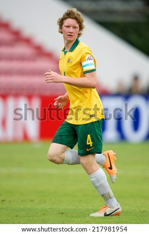 NONTHABURI THAILAND-SEPTEMBER 10:Kye Francis Rowles of Australia in action during the AFC U-16 Championship between Australia and Japan at Muangthong Stadium on Sep10 ,2014,Thailand - stock photo