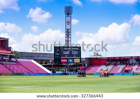 NONTHABURI THAILAND-SEPTEMBER 26:View of  SCG Stadium before match The Singha Thailand Sevens 2015 between Chinese Taipei and Hong Kong at SCG Stadium on Sep 26, 2015,Thailand