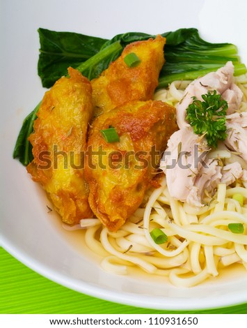 noodle, chicken soup with noodle and vegetables