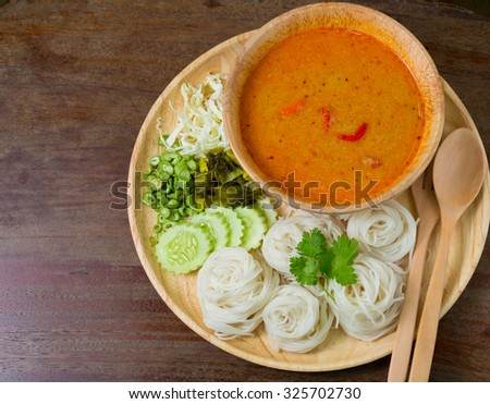 Noodle eaten with curry or Thai style noodle eaten with curry or Thai rice vermicelli, usually eaten with curries
