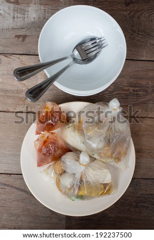 noodle in the bag  on plate - stock photo