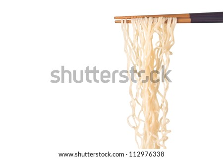 Noodle on chopsticks on white background
