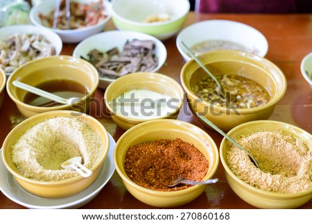 Noodle seasonings in thailand restaurant - stock photo