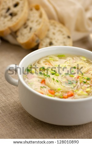 noodle soup - stock photo