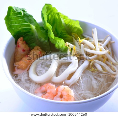 Noodle Soup and asia food - stock photo