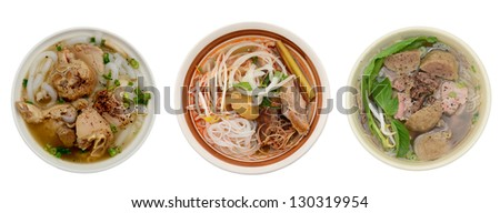 Noodle soups bowl of recipe: making from rice grains - stock photo