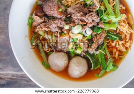 Noodle , Thai Noodle , Thai Noodle meat . Thai Noodle thin line , Thai Noodle small line , Thailand Food , lunch - stock photo