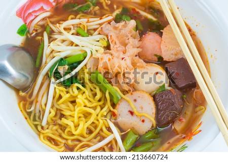 Noodle , Thai Noodle , Thai Noodle meat Thailand Food - stock photo