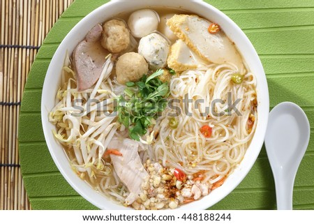 Noodle with meat ball, Thai Food  - stock photo
