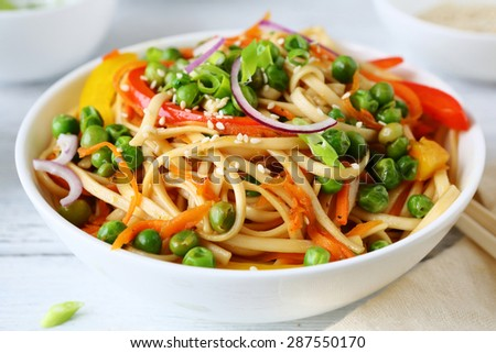 noodles and green pears, chinese food - stock photo