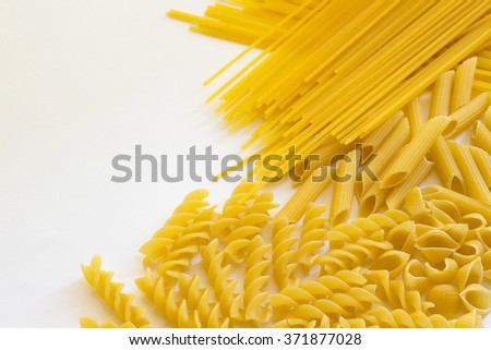 Noodles and pasta on a white background