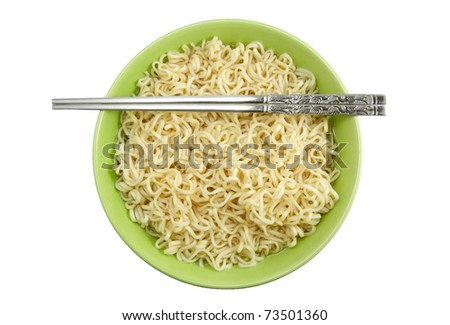Noodles in bowl and chopsticks - stock photo