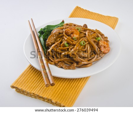noodles. stir-fried noodles with chicken - stock photo