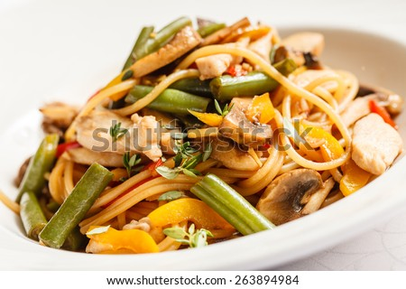 noodles with chicken - stock photo