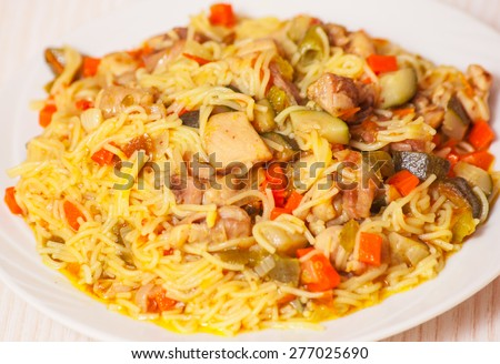 noodles with chicken and vegetables - stock photo