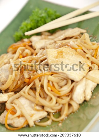 noodles with chicken and vegetables on green plate - stock photo