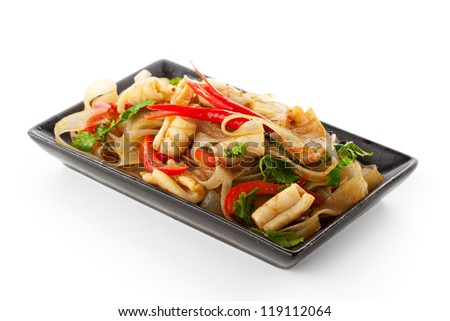 Noodles with Fried Calamari and Vegetables - stock photo