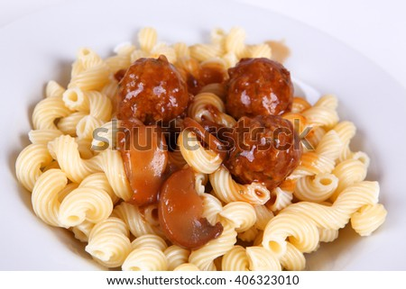 noodles with meatballs - stock photo