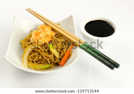Noodles with prawn, traditional chinese plate - stock photo