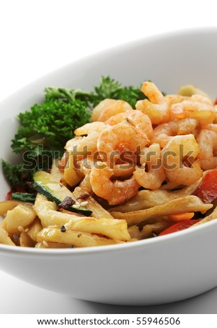 Noodles with Shrimps, Cabbage, Mushrooms and Paprika - stock photo