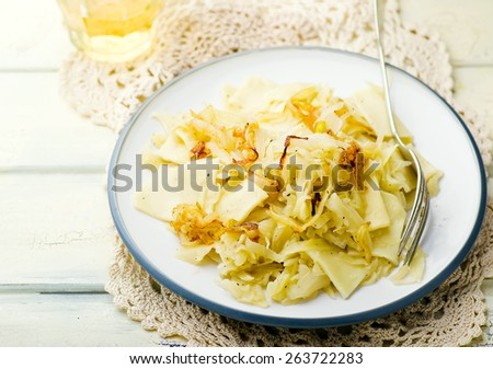 Noodles with stewed cabbage. Austrian cuisine. selective focus.
