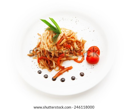 Noodles with tomato sauce and vegetables on white background - stock photo
