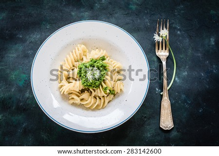 Noodles with vegan pesto. Selective focus. Top view - stock photo