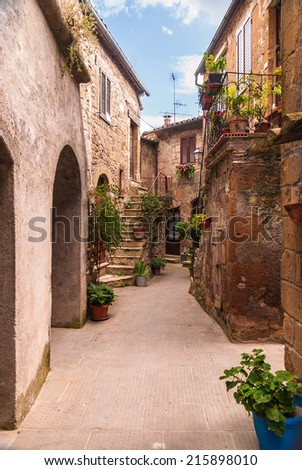 Nooks and crannies in the Tuscan town, Italy - stock photo